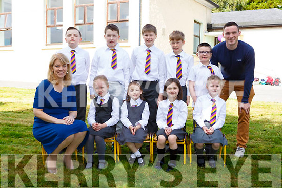 Principal Catherine Barry and the first pupils of Two Mile Community NS at the official opening of the school on Wednesday front row l-r: Erica mcCarthy, Aoife Casey, Rebecca Riordan, Holly Culloty. Back row: Matthew Noonan-Daly, Robert Harris, Andrew  Riordan, Alex riordan, Cailean Laing Padraig O'Suilleabhain teacher
