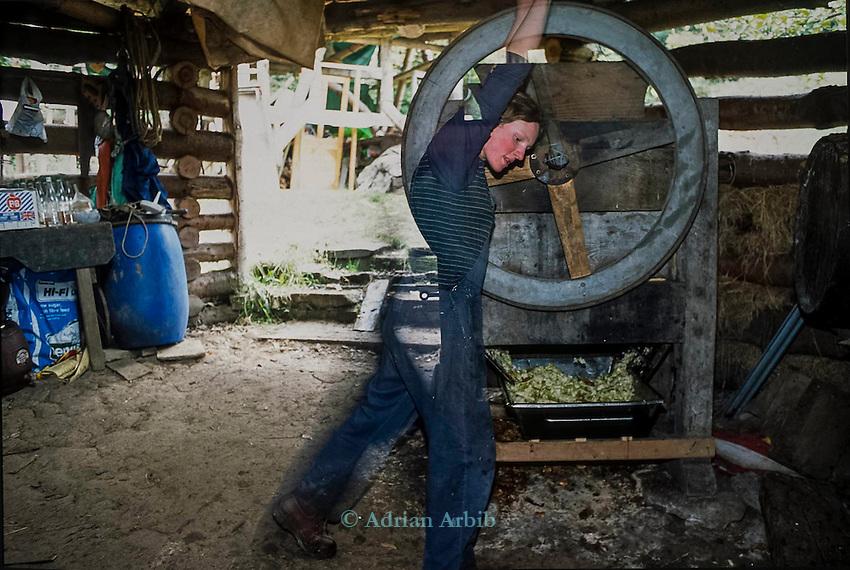 Kerri making apple juice from the Bramleys.   Tinker's Bubble, Low impact community,  Somerset