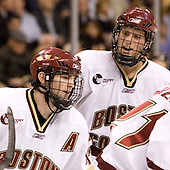 Joe Rooney (Boston College - Canton, MA) and Mike Brennan (Boston College - Smithtown, NY) celebrate Benn Ferriero's goal which tied the game at 1. The Boston College Eagles defeated the Harvard University Crimson 3-1 in the first round of the 2007 Beanpot Tournament on Monday, February 5, 2007, at the TD Banknorth Garden in Boston, Massachusetts.  The first Beanpot Tournament was played in December 1952 with the scheduling moved to the first two Mondays of February in its sixth year.  The tournament is played between Boston College, Boston University, Harvard University and Northeastern University with the first round matchups alternating each year.