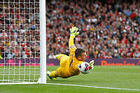Thomas Heaton of Aston Villa saves the shot during the Premier League match between Arsenal and Aston Villa at the Emirates Stadium, London, England on 22 September 2019. Photo by Carlton Myrie / PRiME Media Images.