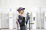 COLUMBUS, OH - MARCH 11: Mindy Miles of Texas Christian University waves to the crowd during the Division I Rifle Championships held at The French Field House on the Ohio State University campus on March 11, 2017 in Columbus, Ohio. (Photo by Jay LaPrete/NCAA Photos via Getty Images)