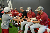 NWA Democrat-Gazette/ANDY SHUPE<br /> Arkansas catcher Casey Opitz (right) and third baseman Jacob Nesbit sign autographs Friday, June 7, 2019, during practice in The Fowler Family Baseball and Track Training Center ahead of today's NCAA Super Regional game at Baum-Walker Stadium in Fayetteville. Visit nwadg.com/photos to see more photographs from the practices.