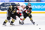 Stockholm 2014-10-14 Ishockey Hockeyallsvenskan AIK - Malm&ouml; Redhawks :  <br /> Malm&ouml; Redhawks Frederik Storm stoppas a AIK:s Johan Andersson och Ryan McKiernan <br /> (Foto: Kenta J&ouml;nsson) Nyckelord:  AIK Gnaget Hockeyallsvenskan Allsvenskan Hovet Johanneshov Isstadion Malm&ouml; Redhawks