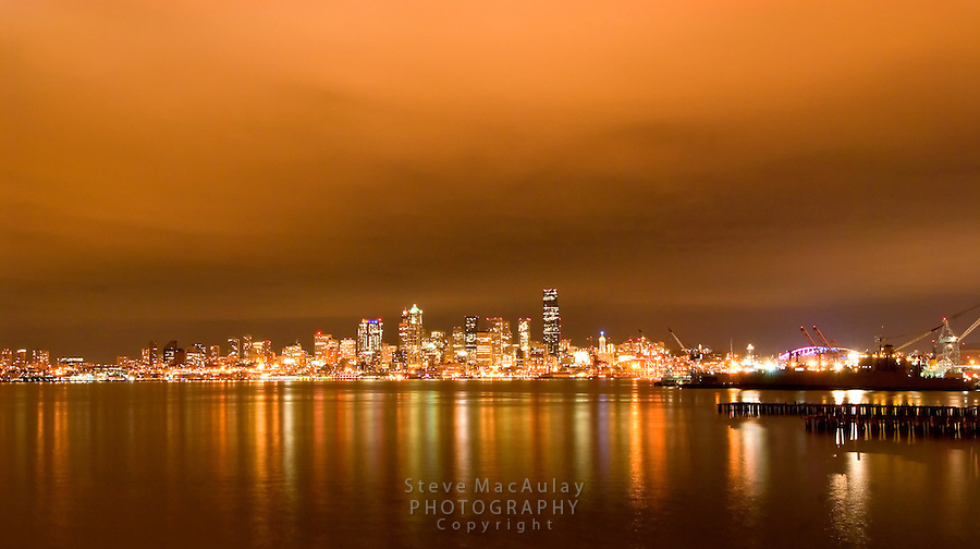 Night view of downtown Seattle skyline from West Seattle