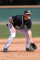 Third baseman Allan Dykstra (10) of the Wake Forest Demon Deacons on defense versus the Clemson Tigers during the first game of a double header at Gene Hooks Stadium in Winston-Salem, NC, Sunday, March 9, 2008.
