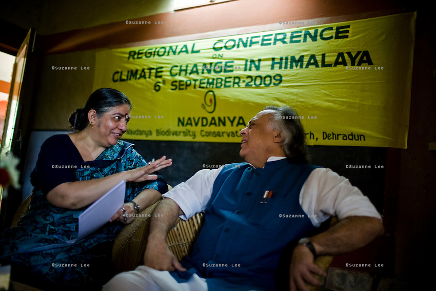 Dr. Vandana Shiva (left) discusses environment issues with the Minister of Environment, Sr. Jairam Ramesh, during the Regional Conference for Climate Change in Himalaya in the Navdanya conference room in Dehradun, Uttarakhand, India, on 6th September 2009...Dr. Vandana Shiva, the founder of Navdanya Foundation and Bijavidyapeeth, is a physicist turned environmentalist who campaigns against genetically modified food and teaches farmers to rely on indigenous farming methods.. .Photo by Suzanne Lee / For The National