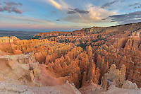 Bryce Canyon National Park, Utah:<br /> Evening light on the sandtone formations of the Bryce Amphitheatre