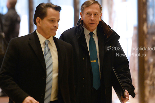 General David Petraeus (r), Former Director of the Central Intelligence Agency, is seen arriving in the lobby of the Trump Tower in New York, New York, on November 28, 2016.<br /> Credit: Anthony Behar / Pool via CNP