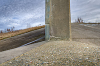 The camera was placed on the cement structure, stopped down and three quick frames were recorded. This is the concrete drop structure, located near the end of the seven kilometre floodway,  which reduces the energy of the diverted waters before entering the St. Clair River at the W. Darcy McKeough Floodway.