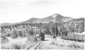 Leased D&amp;RGW #464 approaching the Placerville depot.  A string of gondolas is at the right.<br /> RGS  Placerville, CO  Taken by Richardson, Robert W.