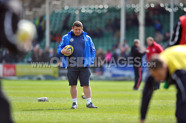 First team coach Toby Booth looks on during the pre-match warm-up. Aviva Premiership match, between Bath Rugby and London Welsh on March 30, 2013 at the Recreation Ground in Bath, England. Photo by: Patrick Khachfe / Onside Images