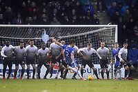 Luke O'Neill takes a free-kick for Gillingham as Peterborough defend the kick with a nine man wall during Gillingham vs Peterborough United, Sky Bet EFL League 1 Football at the MEMS Priestfield Stadium on 10th February 2018