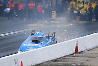 May 20, 2016; Topeka, KS, USA; NHRA funny car driver John Force hits the wall during qualifying for the Kansas Nationals at Heartland Park Topeka. Mandatory Credit: Mark J. Rebilas-USA TODAY Sports