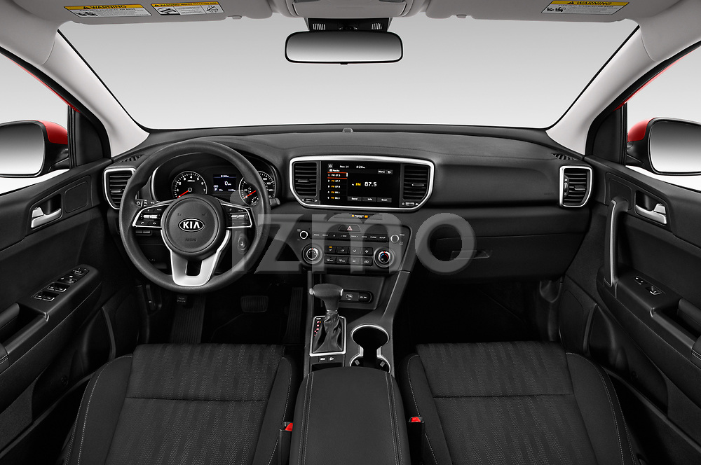 Stock photo of straight dashboard view of a 2020 KIA Sportage LX 5 Door SUV