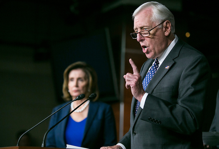 UNITED STATES - MAY 11 - Democratic Whip Steny Hoyer, D-Md., speaks alongside House Minority Leader Nancy Pelosi, D-Calif., at a news conference on Capitol Hill in Washington, Wednesday, May 11, 2016, to discuss how Donald Trump's rhetoric echoes the long-standing policy positions of House Republicans. (Photo By Al Drago/CQ Roll Call)