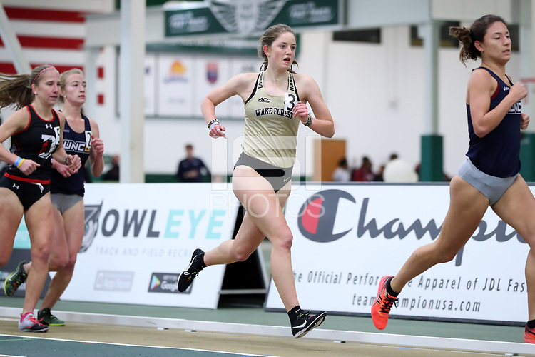 WINSTON-SALEM, NC - FEBRUARY 07: Caroline Garrett #3 of Wake Forest University runs in the Women's 3000 Meters at JDL Fast Track on February 07, 2020 in Winston-Salem, North Carolina.
