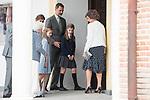 Menchu del Valle, Queen Letizia, Princess Leonor, King Felipe VI,  Princess Sofia and Queen Sofia arrives to the First Communion of princess Sofia at Asuncion de Nuestra Senora Church in Madrid, May 17, 2017. Spain.<br /> (ALTERPHOTOS/BorjaB.Hojas)