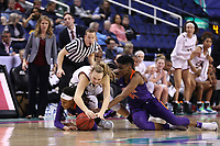 GREENSBORO, NC - MARCH 6: Cameron Swartz #1 of Boston College  dives after a loose ball with Danae McNeal #22 and Kobi Thornton #44 of Clemson University during a game between Clemson and Boston College at Greensboro Coliseum on March 6, 2020 in Greensboro, North Carolina.