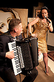 "The Accordionist with Bethany Jameson as ""Jacqueline Lacroix"" and Romano Viazanni as ""the Accordionist"" opens at the New End Theatre, Hampstead, London."