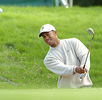 THOMASTOWN, IRELAND. Tiger Woods chipping out of the bunker on the second during the American Express Championship day two at the Mount Juliet Golf Club on October 1th, 2004 in Thomastown, Ireland ..Photo AFP/NEWSFILE/FRAN CAFFREY..(Photo credit should read FRAN CAFFREY/NEWSFILE/AFP)...This Picture has been sent you under the condtions enclosed by:.Newsfile Ltd..the Studio,.Millmount Abbey,.Drogheda,.Co Meath..Ireland..Tel: +353(0)41-9871240.Fax: +353(0)41-9871260.GSM: +353(0)86-2500958.email: pictures@newsfile.ie.www.newsfile.ie.FTP: 193.120.102.198..This picture is from Fran Caffrey@newsfile.ie