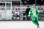 Stockholm 2013-11-26 Bandy Elitserien Hammarby IF - Edsbyns IF :  <br /> Edsbyn Simon Jansson sitter utvisad och har ett headset p&aring; huvudet<br /> (Foto: Kenta J&ouml;nsson) Nyckelord: