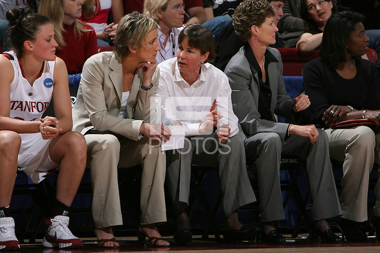 24 March 2008: Kate Paye and Tara VanDerveer during Stanford's 88-54 win over UTEP in the second round of the NCAA women's basketball championships in Stanford, CA.