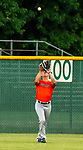 WATERBURY, CT-071520JS22—Brass City Bombers' Robert Taylor (19) parks under a fly ball in center field  during their summer college league game against the he Simsbury SaberCats Wednesday at Municipal Stadium in Waterbury. <br /> Jim Shannon Republican-American