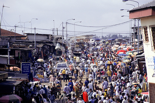 Libreville, Gabon. Busy market street.