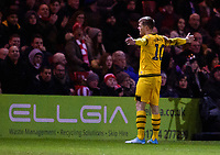Milton Keynes Dons' Rhys Healey celebrates scoring the opening goal<br /> <br /> Photographer Andrew Vaughan/CameraSport<br /> <br /> The EFL Sky Bet League One - Lincoln City v Milton Keynes Dons - Tuesday 11th February 2020 - LNER Stadium - Lincoln<br /> <br /> World Copyright © 2020 CameraSport. All rights reserved. 43 Linden Ave. Countesthorpe. Leicester. England. LE8 5PG - Tel: +44 (0) 116 277 4147 - admin@camerasport.com - www.camerasport.com