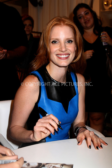 WWW.ACEPIXS.COM....September 6 2012, New York City....Actress Jessica Chastain made an appearance at Jeffries For Fashion night Out on September 6 2012 in New York City....By Line: Nancy Rivera/ACE Pictures......ACE Pictures, Inc...tel: 646 769 0430..Email: info@acepixs.com..www.acepixs.com