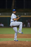AZL Dodgers relief pitcher Nelfri Contreras (59) delivers a pitch during an Arizona League game against the AZL Indians 2 at Goodyear Ballpark on July 12, 2018 in Goodyear, Arizona. The AZL Indians 2 defeated the AZL Dodgers 2-1. (Zachary Lucy/Four Seam Images)