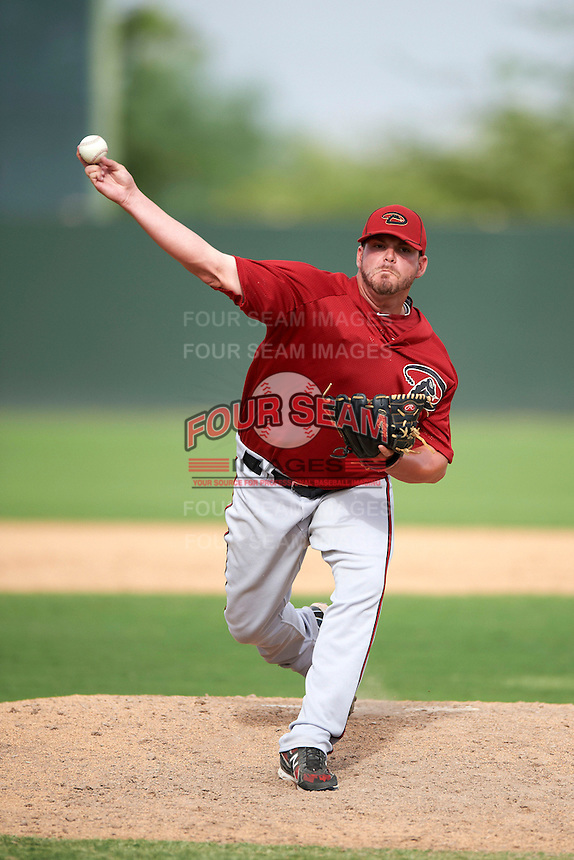 Arizona Diamondbacks minor league pitcher RJ Hively #31 during an instructional league game against the Oakland Athletics at the Papago Park Baseball Complex on October 11, 2012 in Phoenix, Arizona.  (Mike Janes/Four Seam Images)