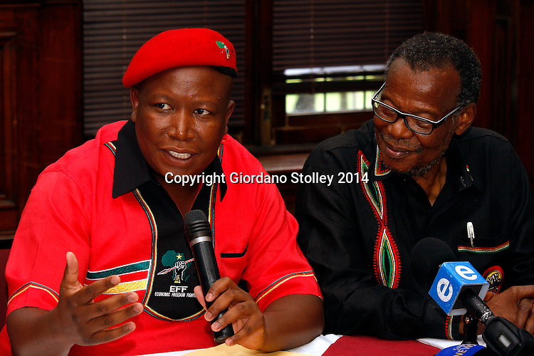 DURBAN - 20 January 2014 - EFF leader Julius Malema and Inkatha Freedom party leader Mangosuthu Buthelezi answer questions at a joint press conference where Malema apologised for remarks made when he was ANC Youth League president. Picture: Allied Picture Press/APP