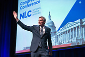 Mayor Bill de Blasio (Democrat of New York) makes remarks at the National League of Cities spring meeting at the Marriott Wardman Park Hotel in Washington, DC on Monday, March 12, 2018.<br /> Credit: Ron Sachs / CNP<br /> (RESTRICTION: NO New York or New Jersey Newspapers or newspapers within a 75 mile radius of New York City)