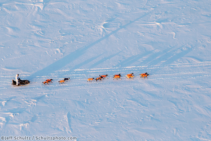 Alan Stevens team casts long shadows on the Yukon River at sunrise on his way into the Galena checkpoint on Friday March 13, 2015 during Iditarod 2015.  <br /> <br /> (C) Jeff Schultz/SchultzPhoto.com - ALL RIGHTS RESERVED<br />  DUPLICATION  PROHIBITED  WITHOUT  PERMISSION