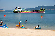 The beach at Okunoshima, aka Rabbit Island in Hiroshima Prefecture Japan.