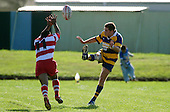 J. Penberthy kicks over S. Fungawaka. Counties Manukau Premier Club Rugby, Patumahoe vs Karaka played at Patumahoe on Saturday 22nd April 2006. Karaka won 19 - 6.