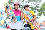 (L-R) Sakura Yosozumi, Kaya Isa (JPN), <br /> AUGUST 29, 2018 - Skateboarding : <br /> Women's Park  Final<br /> at Jakabaring Sport Center Skatepark <br /> during the 2018 Jakarta Palembang Asian Games <br /> in Palembang, Indonesia. <br /> (Photo by Yohei Osada/AFLO SPORT)