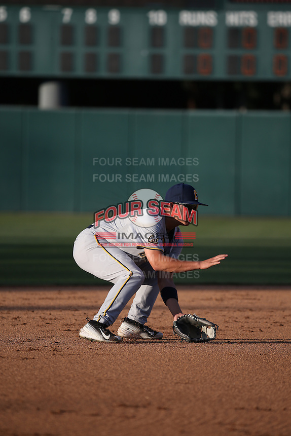Ripken Reyes (4) of the California Bears during infield practice before a game against the Southern California Trojans at Dedeaux Field on March 18, 2016 in Los Angeles, California. California defeated Southern California, 5-4. (Larry Goren/Four Seam Images)