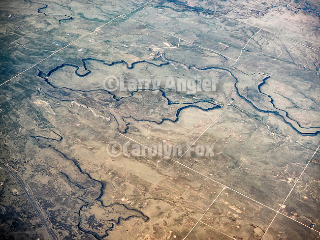 Dry Cimmaron, Great Plains and badlands, northeastern New Mexico from a window seat.