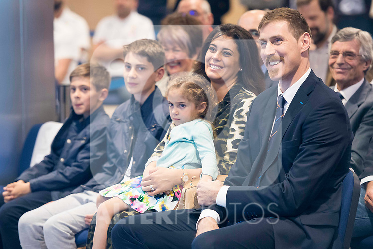 "Andres ""El Chapu"" Nocioni with his wife and sons during the appearance of retirement as profesional basketball player at Stadium Santiago Bernabeu in Madrid, Spain. April 04, 2017. (ALTERPHOTOS/BorjaB.Hojas)"
