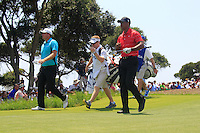 Tiger Woods (USA) and Peter Hanson (SWE) walk off the 1st tee to start their match Sunday's Final Round of the 94th PGA Golf Championship at The Ocean Course, Kiawah Island, South Carolina, USA 11th August 2012 (Photo Eoin Clarke/www.golffile.ie)
