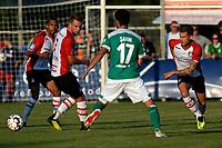 LEER - Voetbal , Werder Bremen - FC Emmen, oefenduel, seizoen 2018--2019, 04-09-2018, /20/, /FC Emmen speler Wouter Marinus en FC Emmen speler Reuven Niemeijer met Nuri Sahin