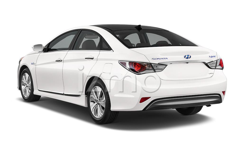 Car pictures of rear three quarter view of a 2015 Hyundai Sonata  Hybrid 4 Door Sedan angular rear