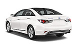 Car pictures of rear three quarter view of a 2015 Hyundai Sonata  Hybrid 4 Door Sedan angular rear
