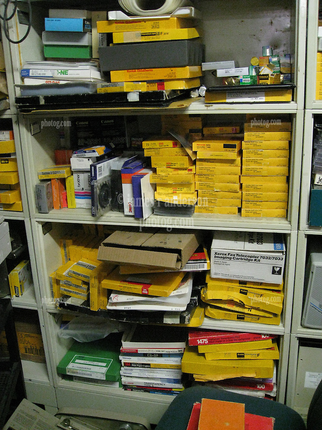 Photographic film and paper shelved at The Black Hole Surplus Store. Los Alamos New Mexico. 22 March 2008.