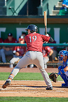 Michael Emodi (19) of the Idaho Falls Chukars at bat against the Ogden Raptors at Lindquist Field on August 9, 2019 in Ogden, Utah. The Raptors defeated the Chukars 8-3. (Stephen Smith/Four Seam Images)