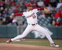 NWA Democrat-Gazette/ANDY SHUPE<br /> Arkansas starter Isaiah Campbell delivers to the plate against Missouri Friday, March 15, 2019, during the first inning at Baum-Walker Stadium in Fayetteville. Visit nwadg.com/photos to see more photographs from the game.