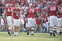 NWA Democrat-Gazette/J.T. WAMPLER Arkansas' Cole Hedlund (9) lingers on the field after missing his second field goal attempt of the game against TCU Saturday Sept. 9, 2017 at Donald W. Reynolds Razorback Stadium in Fayetteville. Arkansas lost 28-7.