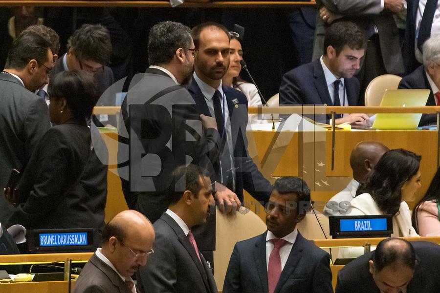Nova York (EUA), 24/09/2019 - Assembléia Geral / ONU - Enersto Arauno e Eduardo Bolsonaro durante abertura da 74ª Assembleia Geral da Organização das Nações Unidas (ONU)  em Nova York nos Estados Unidos nesta terça-feira, 24. (Foto: William Volcov/Brazil Photo Press/Agencia O Globo) Mundo